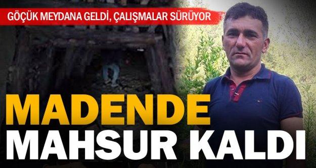 Acıpayam'da bir işçi madende mahsur kaldı