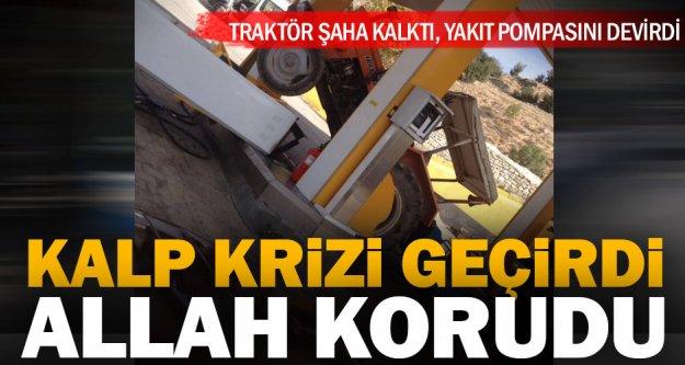 Traktör kazasında Allah korudu