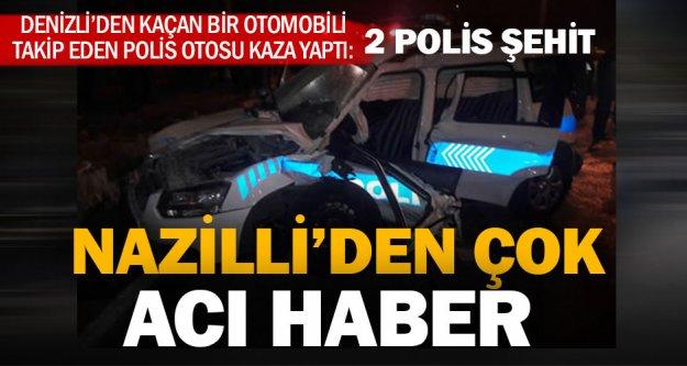 Denizli'den kaçan otomobili takip eden iki polis kazada şehit oldu