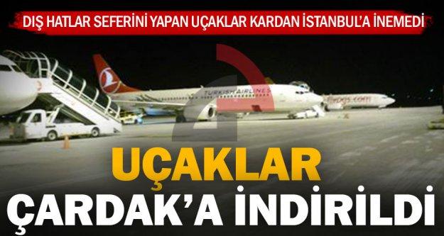 İstanbul'a inemeyen uçaklar Çardak'a yönlendirildi