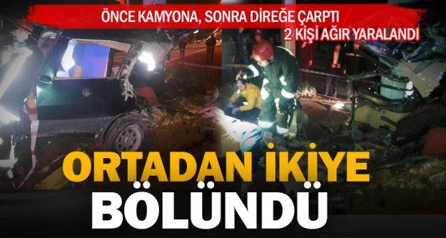 Sarayköy'deki kazada otomobil ikiye bölündü