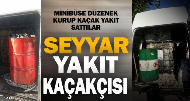 Minibüsle kaçak yakıt servisi