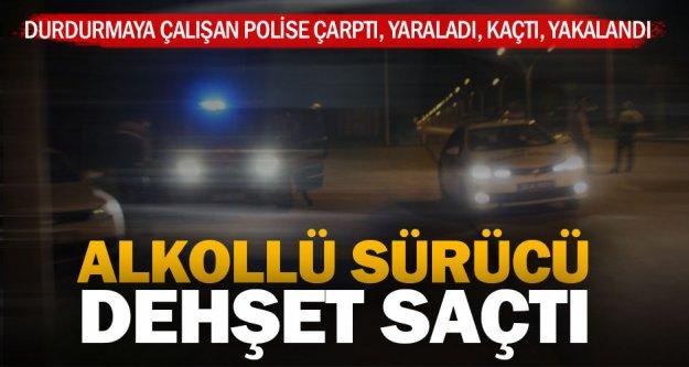 Çevirme yapan polise çarpıp kaçtı