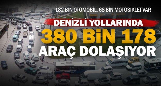 Denizli'de toplam araç sayısı 380 bin 178 oldu