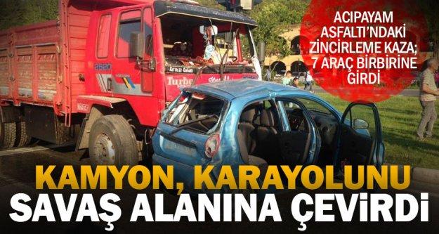 Acıpayam Asfaltında 7 araçlı zincirleme kaza