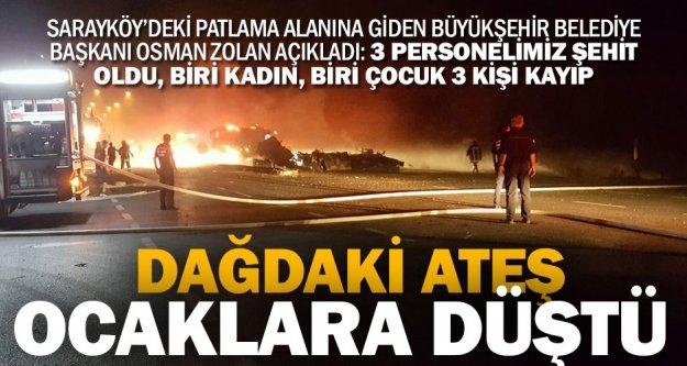 Sarayköy'deki tanker patlamasında 3 şehit, 3 kişi kayıp, 2'si ağır 5 yaralı var