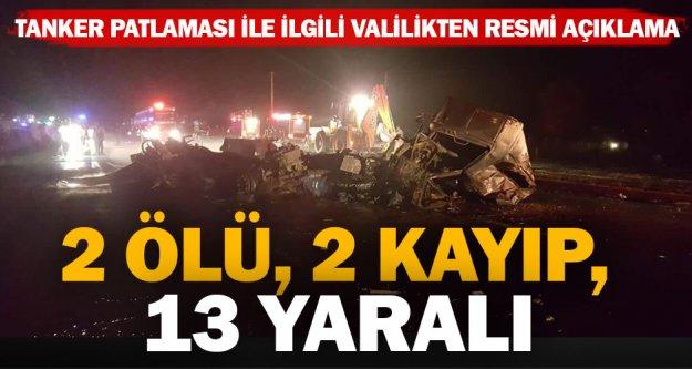Tanker patlamasında iki kişi hala kayıp