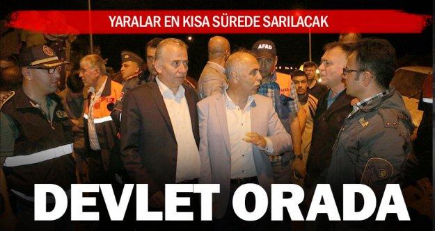 Vali Karahan ve Başkan Zolan afet bölgesinde
