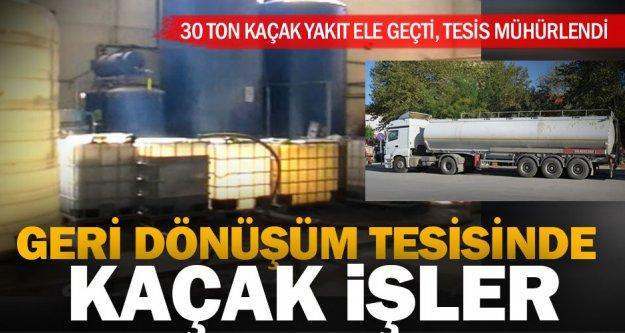 Geri dönüşüm tesisinde kaçak yakıt ticaretine polis engeli