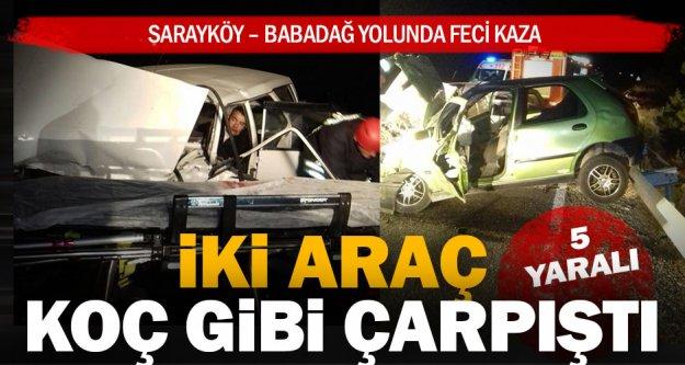 Sarayköy – Babadağ yolunda kaza: 5 yaralı