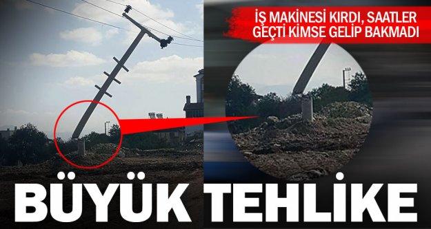 Serinhisar'da elektrik direği kırıldı, halk tedirgin