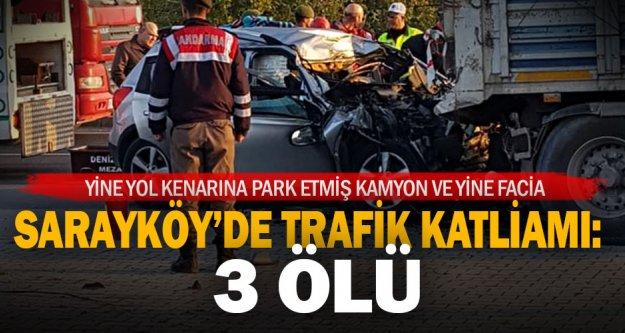 Denizli'de cip, park halindeki TIR'a çarptı: 3 ölü