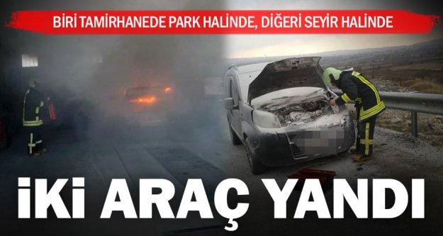 İki araç yandı