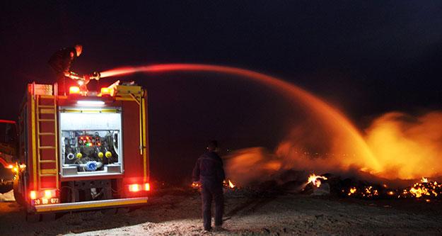 Moloz döküm alanında yangın