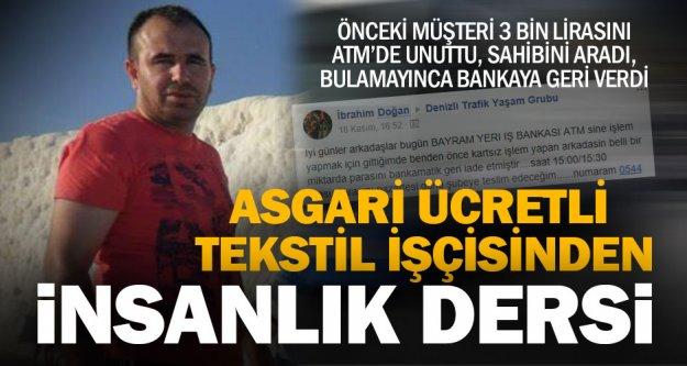 Tekstil işçisi ATM'de unutulan 3 bin lirayı sahibine ulaştırdı