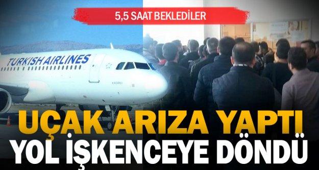 Uçak arıza yaptı, yolcular 5.5 saat bekledi