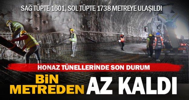 Honaz tünellerinin bitmesine bin metreden az kaldı