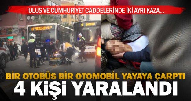 İki ayrı kazada yayalar çarpıldı, 4 kişi yaralandı