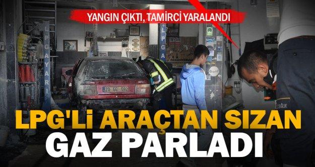 Tamircide otomobil LPG tankından sızan gaz parladı: 1 yaralı
