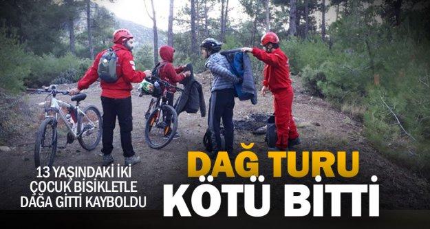 Bisikletle dağda yolunu kaybeden iki çocuk kurtarıldı