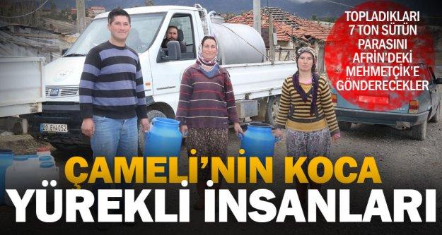 Çamelili çiftçiden Mehmetçik'e 'süt'le destek