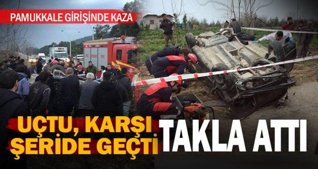 Pamukkale girişinde kaza