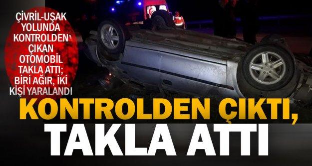Çivril'de takla atan otomobildeki iki kişi yaralandı