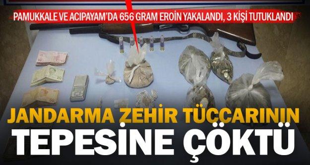 Jandarma 656 gram eroin yakaladı, 3 kişi tutuklandı