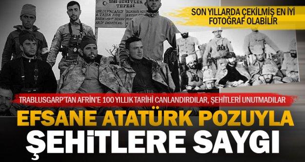 Şehitler Tepesi'nde Mehmetçik'ten efsane Atatürk pozu