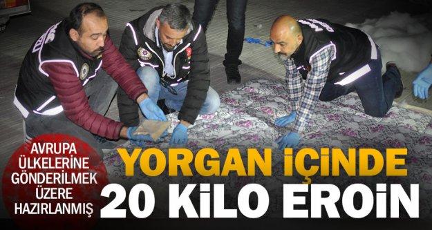 Avrupa ülkelerine yorgan içinde eroin sevkine 3 gözaltı