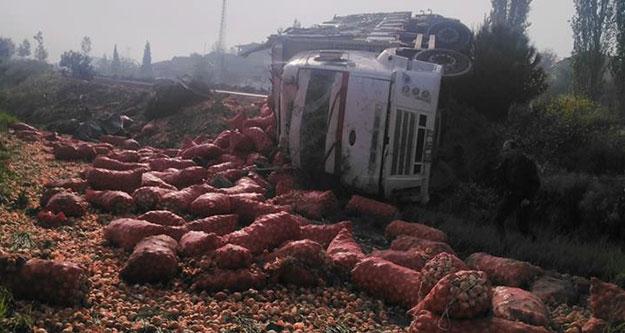 Soğan yüklü kamyon devrildi