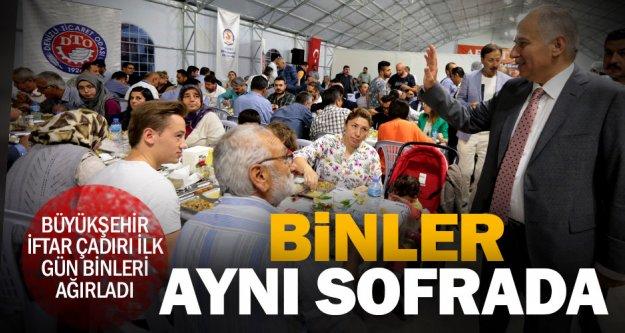 Büyükşehir iftar çadırı ilk gün binleri ağırladı