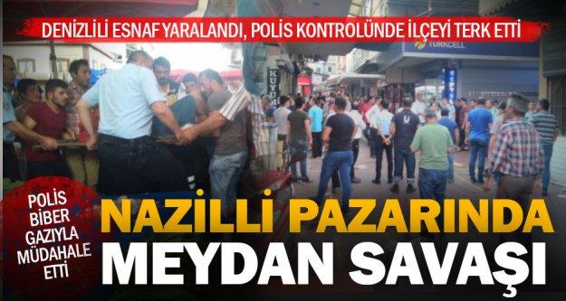 Nazilli'de pazarcılar birbirine girdi Denizlili esnafın da bulunduğu 4 kişi yaralandı
