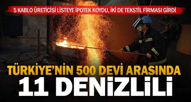 Türkiye'nin 500 büyük sanayi kuruluşundan 11'i Denizlili