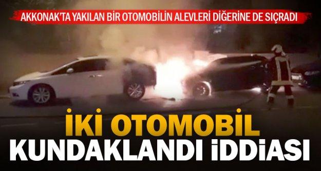 Akkonak'ta iki otomobil kundaklandı iddiası