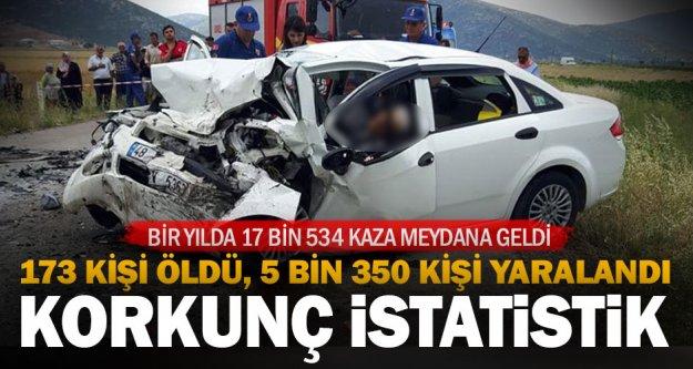 Denizli'deki trafik kazalarında 1 yılda 173 kişi öldü