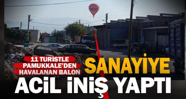 11 turist taşıyan sıcak hava balonu, sanayiye acil iniş yaptı