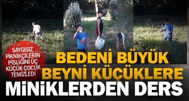 Çocuklar, yetişkinlerin pislettiği piknik alanını temizledi