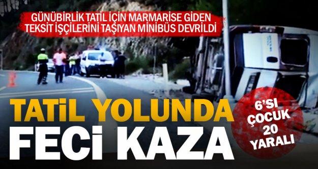 Marmarise tatile giden tekstil işçileri kaza yaptı: 20 yaralı