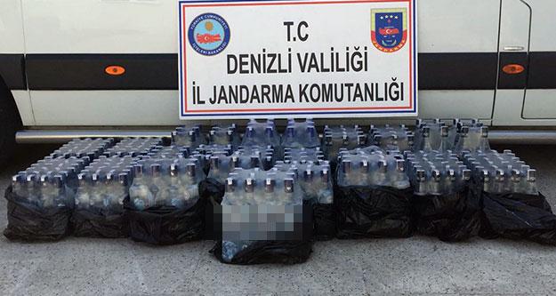Jandarma, 317 şişe kaçak içki ele geçirdi
