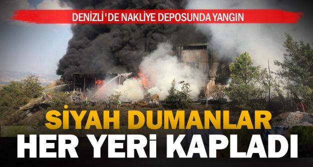 Denizli'de nakliye deposunda yangın