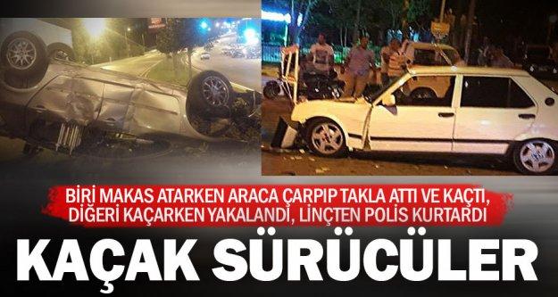 İki ayrı kazada sürücüler kaçtı, biri yakalandı linçten kurtuldu