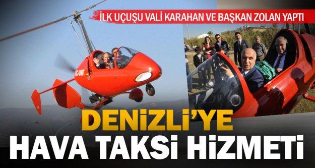 Hava taksi 'gyrocopter' ile ilk turu Vali Karahan ve Başkan Zolan attı