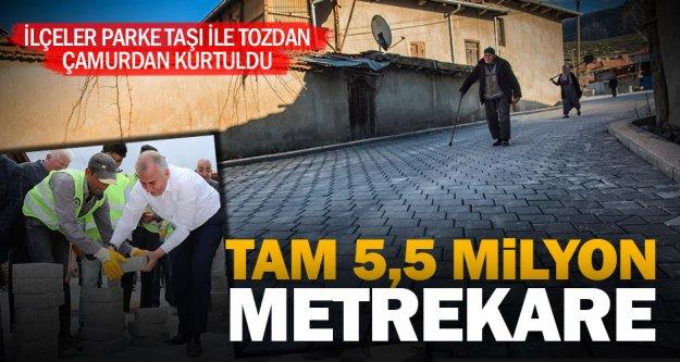 Büyükşehir'den 5,5 milyon metrekare kilit parke taşı