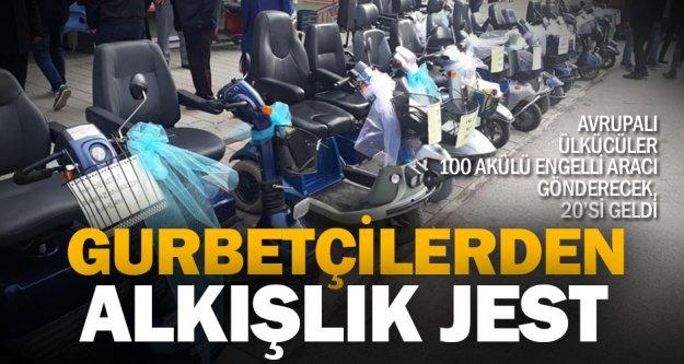 Gurbetçilerden Acıpayam'a 100 akülü engelli aracı