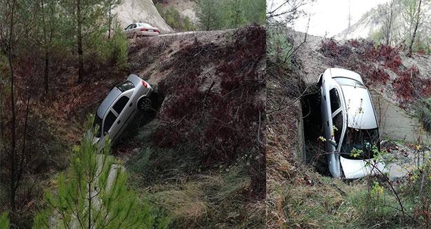 Otomobil dereye uçtu, sürücü yaralandı