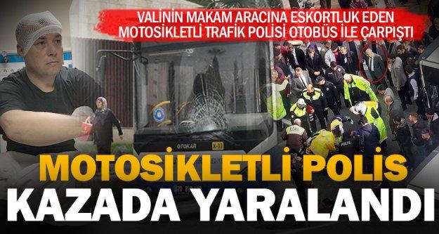 Valinin konvoyundaki polis motosikletine belediye otobüsü çarptı: 1 yaralı