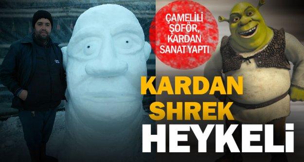 Kardan 'Shrek' heykeli ilgi çekti
