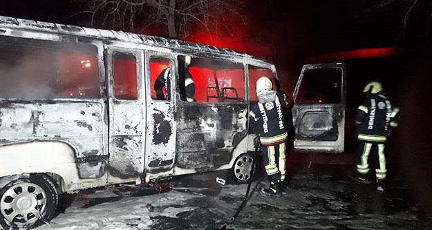 Minibüs yangınında kundaklama şüphesi