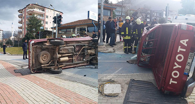 Takla atan kamyonette sıkışan 79 yaşındaki sürücüyü itfaiye kurtardı